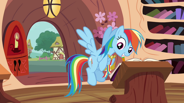 File:Rainbow writing in friendship journal S4E10.png