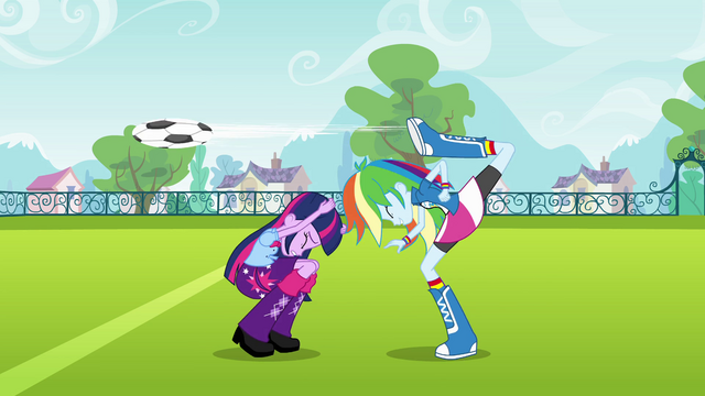 File:Rainbow Dash back-kicks the ball EG.png