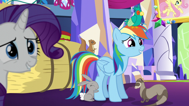 File:Rainbow smiles nervously at Fluttershy S5E3.png
