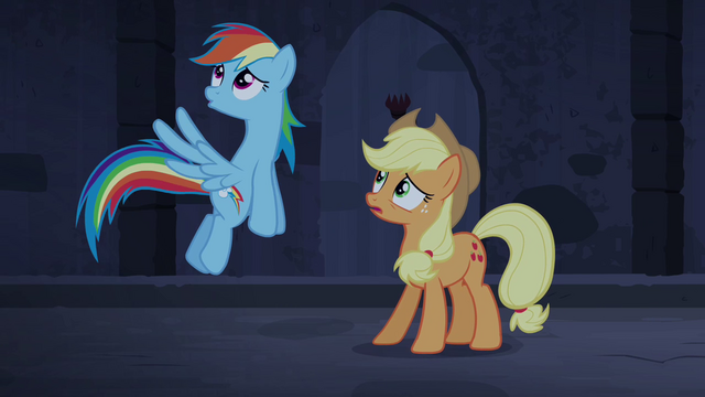 File:Rainbow and Applejack hear organ music S4E03.png