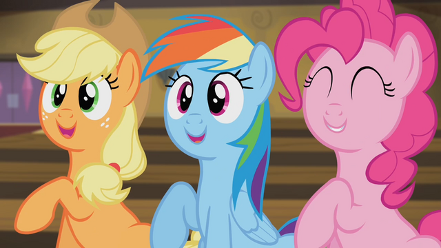 File:Applejack, Rainbow and Pinkie stomping their hooves S4E08.png