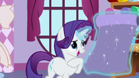 Rarity rolls down fabric S5E11