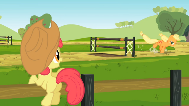 File:Apple Bloom watches Applejack practice S2E14.png