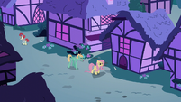 Fluttershy and Zephyr walk through Ponyville S6E11
