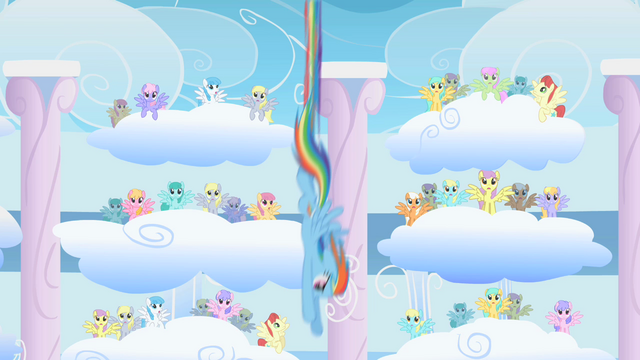File:Rainbow Dash diving Derpy Hooves clones S1E16.png