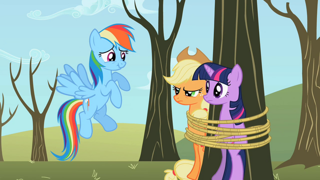 File:Twilight Sparkle Applejack tied tree S2E10.png