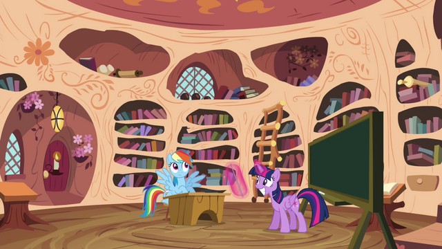 File:Twilight and Rainbow in the library S4E21.png