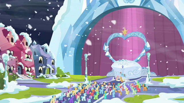 File:Applejack, Fluttershy, and Rainbow in front of the Crystal Empire crowd S6E2.png