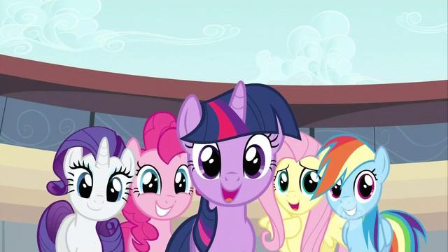 File:Main six minus Applejack looking happy S02E14.png