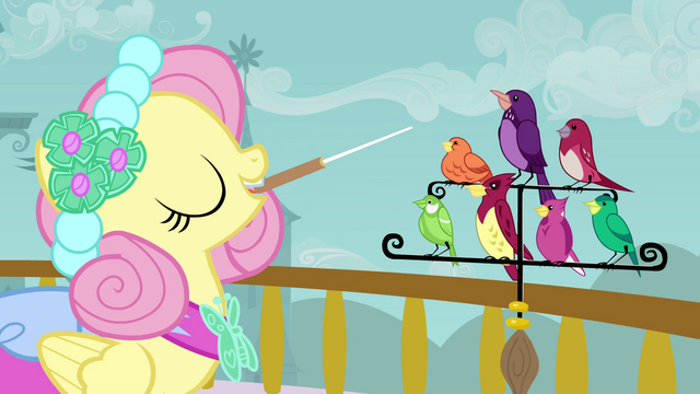 File:Fluttershy and Birds S2E26.png