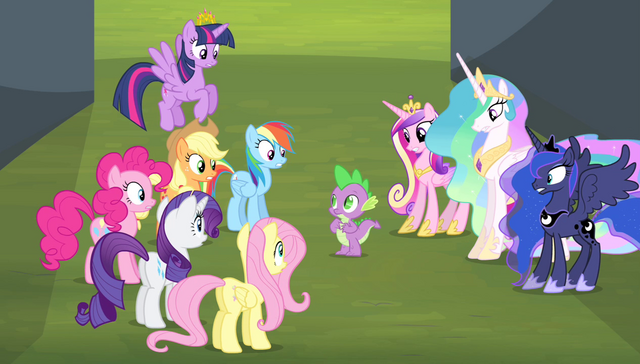 "File:Mane 6 and princesses ""you guess?!"" S4E24.png"