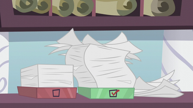 File:Rarity's messy inbox and outbox of orders S5E14.png