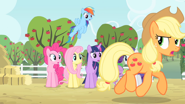 File:Applejack's friends see Applejack walking S4E07.png