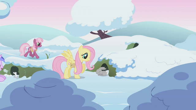 File:Fluttershy wakes a bunny while Cheerilee walks by in background S1E11.png