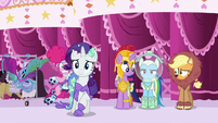 Pinkie Pie trips over Rarity's costume tail S5E21
