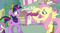 Fluttershy holding whoopee cushion S03E13