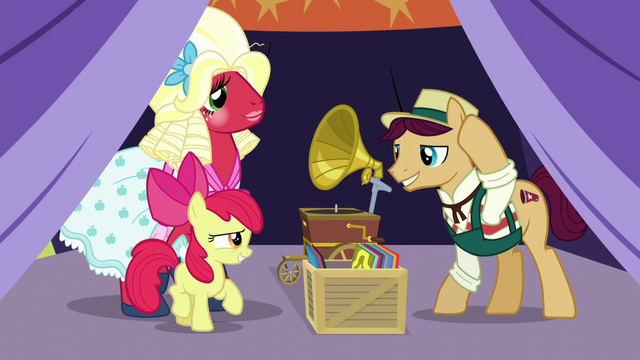 File:Apple Bloom greets booth barker S5E17.png