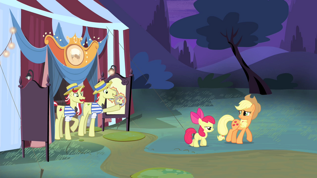 File:Applejack and Apple Bloom walking away S4E20.png