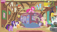 Mane 6 gathered around sick Discord S4E11