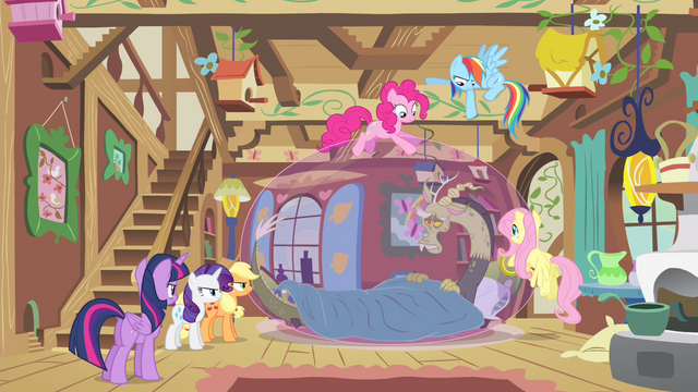File:Mane 6 gathered around sick Discord S4E11.png