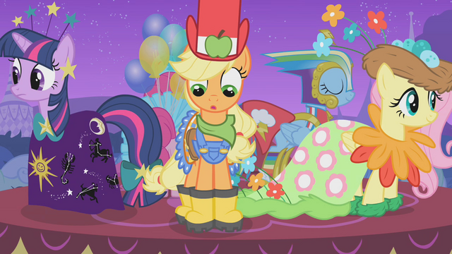 File:Applejack looks down at her galoshes S1E14.png