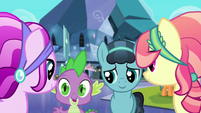Spike and Crystal Hoof talk to Crystal Ponies S6E16