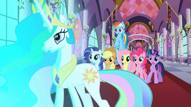 File:The ponies watch the door open S2E01.png