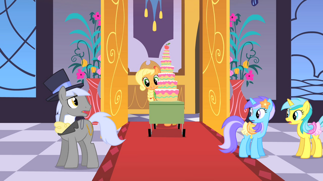 File:Applejack bringing apple cake into hall S1E26.png