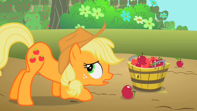 File:Applejack putting apples into a bucket S2E13.png