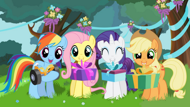 File:FANMADE Happy birthday from Rainbow Dash Fluttershy Rarity and Applejack.png