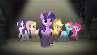 Mane Six hear Sugar Belle's voice S5E1