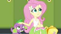 Fluttershy petting Spike's head EG
