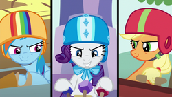 Rainbow Dash, Rarity and AJ ready to race S6E14.png