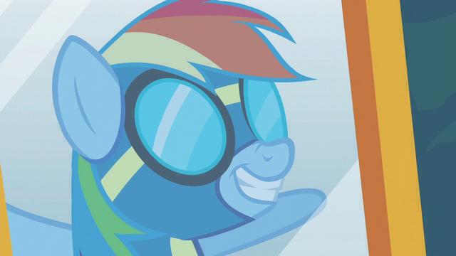 File:Rainbow Dash wearing her uniform S6E7.png