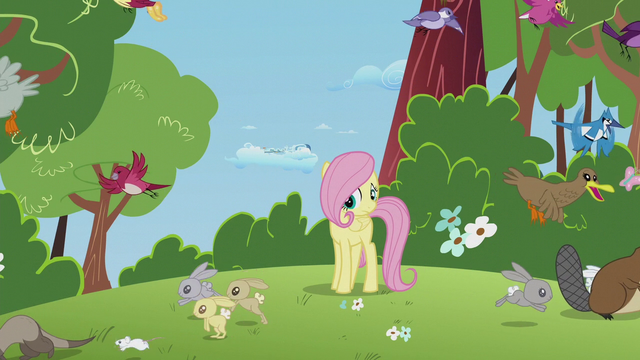 File:Animals running away from filly Fluttershy S5E25.png