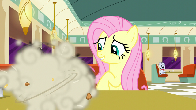 File:Fluttershy watches raccoons eating pie S6E9.png