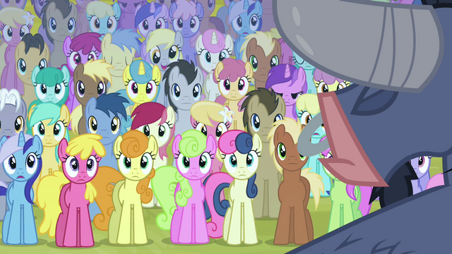 File:Ponies listening to Iron Will S02E19.png
