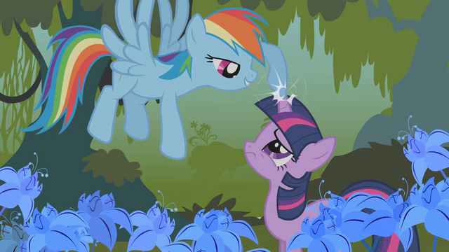File:Rainbow Dash touch Twi's horn S1E09.png
