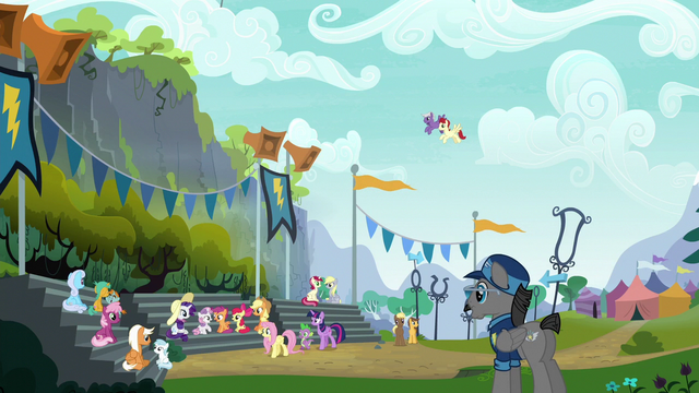 File:Ponies gather for the Wonderbolts' show S6E7.png