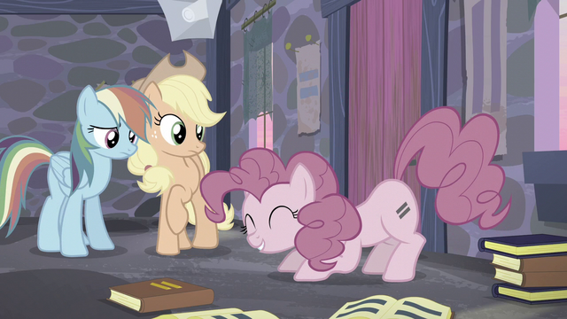 File:Rainbow and Applejack looking at Pinkie about to jump S5E02.png