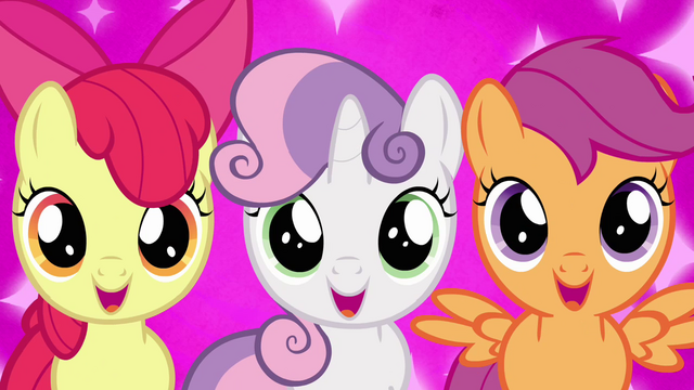 """File:Cutie Mark Crusaders excited """"Crystal Empire?!"""" S03E11.png"""