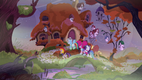 Main five approaching Fluttershy's cottage S5E21