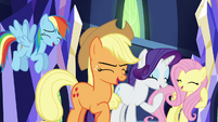 RD, AJ, Rarity, and Fluttershy laughing S5E22