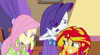 Rarity glaring at Spike EG2