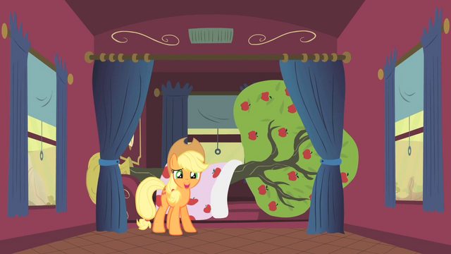 File:Applejack and Bloomberg S1E21.png