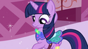 Twilight looks at her new dress S1E03