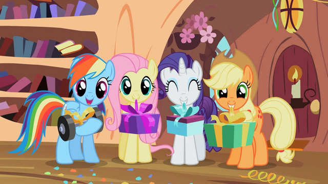 File:Rainbow Dash, Fluttershy, Rarity and Applejack give presents to Spike S02E10.png