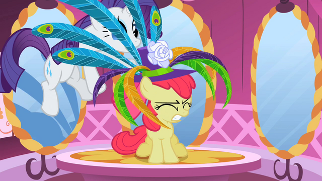 File:Rarity putting hat on Apple Bloom S2E06.png