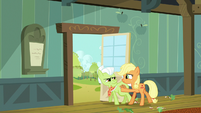 Applejack pushing Granny Smith toward the door S6E23