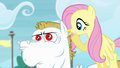 Fluttershy whispering at Bulk's ear S4E10.png